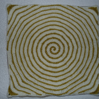 "Spiral Crochet 16""  Cushion Cover with Upcycled  Button Back in Lime and Cream"
