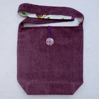 Velvet Chenille Shoulder Bag with Wooden Button. Fully Lined with Pocket.