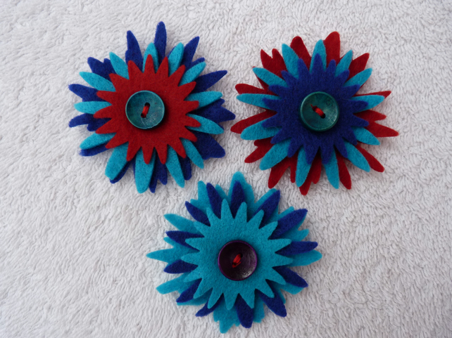 Felt Corsage in Reds Blue and Turquoise  with Wooden Button