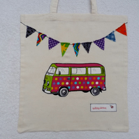 Spot Applique VW Camper Van and Bunting Cotton Canvas Bag with Long Handles