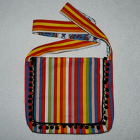 Striped Upholstery Fabric Shoulder Bag with Tassel Trim. Fully Lined.  Pocket.