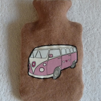 Cashmere Hot Water Bottle Cover with Machine Applique VW Camper.
