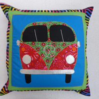 Applique VW Camper Van Cushion Cover in Blue with decorative Quilting