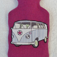 Pink Merino Wool Hot Water Bottle Cover with Machine Applique VW Camper Design