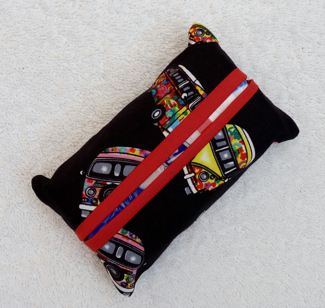 Travel Tissue Holder in Black VW camper  Print Cotton Fabric. Red Trim.