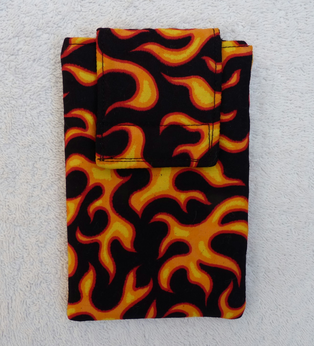 Mobile Phone Cover In Flame Print Cotton Fabric . Suitable larger sized Phones.