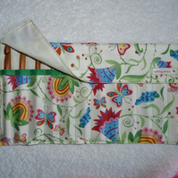 Butterflies  Print Roll Up Crochet Hook Holder with 12 Bamboo Crochet Hooks