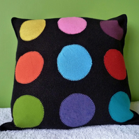 Upcycled  16 inch Spot on Black Cushion Cover