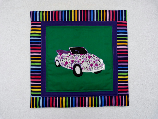 Applique and Quilted VW Cabriolet Beetle Cushion Cover in Purple and Green