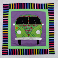 Applique VW Camper Van Cushion Cover in Purple  with decorative Quilting