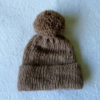 Bobble Hat in Handspun Alpaca with Large Pompom. Natural Brown.