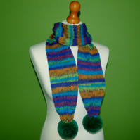 Tube Knit Striped Scarf With Pompom Ends