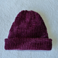 Beanie Style Hat in Handspun Falkland Yarn. Hand Dyed Purple Colour