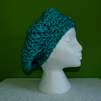 Slouch Crochet Beret in Green Chunky Yarn