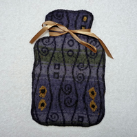 Up-cycled  Blue Patterned Wool Hot Water Bottle Cover.