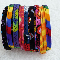 Bright Multicoloured Fabric Bracelet. Medium to Large Size Wrist.