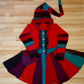 Upcycled Sweater Coat in Red Purple and Brown with Hood, Waist Ties and Pocket
