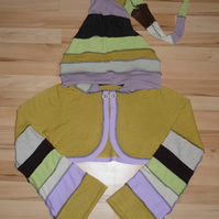 Upcycled Pixie Top with Long Hood and Bell Bottom Sleeves in Mustard Yellow