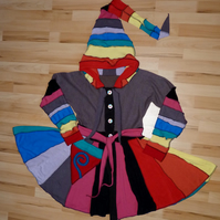 Rainbow Upcycled Coat with Long Hood Button Front Pockets Waist and Neck Ties.