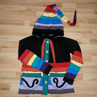 Upcycled Rainbow Jacket with Buttons Hood Patch Pockets and Neck Ties.
