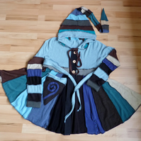 Upcycled Coat with Long Hood Button Front Pocket Waist and Neck Ties.BlueBrown