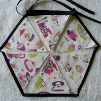 Bunting. Time for Tea Print. 3.5 m in length and 12 flags. Lined Cream Backing.