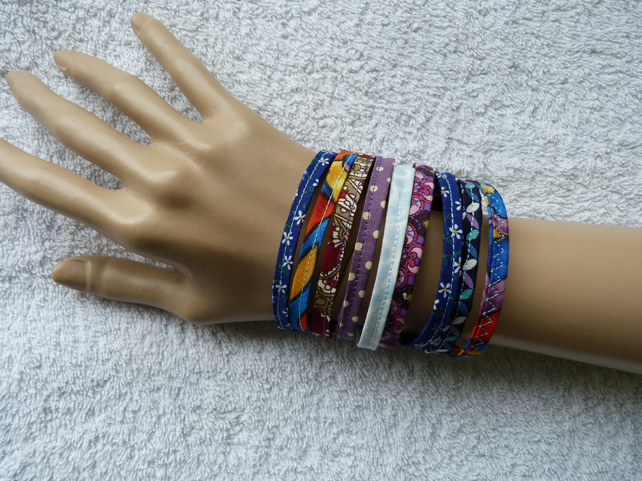 Multicoloured Fabric Bracelet. Small to Medium Size Wrist.