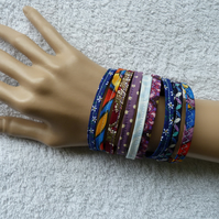 Multicoloured Fabric Bracelet. Medium to Large Size Wrist.