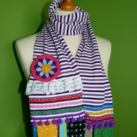 Upcycled Cotton Jersey Striped Scarf with Colourful Embellishments. Purple.