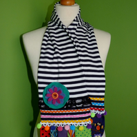 Upcycled Cotton Jersey Striped Scarf with Colourful Embellishments. Blue Stripe.