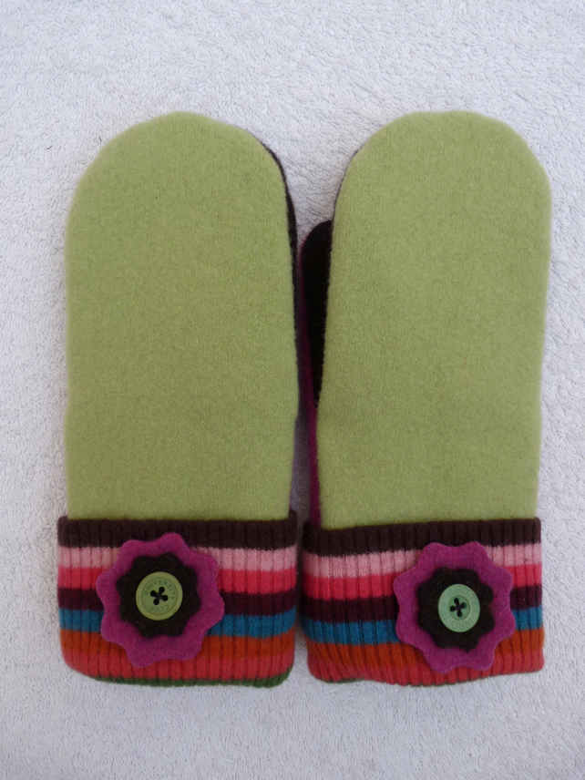 Wool mittens Created from Up-cycled Sweaters. Fully Lined. Stripe Cuff.