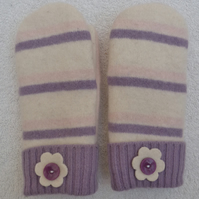 Wool mittens Created from Up-cycled Sweaters. White & Pink