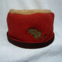Wool Hat Created from Up-cycled Sweaters. Acorn Decoration.