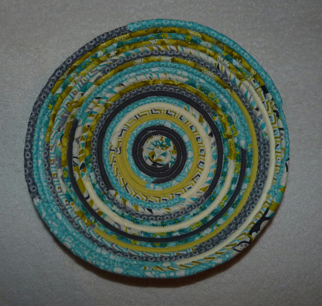 Fabric Coil Basket in Green Grey  and Turquoise Colours.