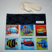 Fish Stamps Print Shoulder Bag with Cream Lining and Shoulder Straps