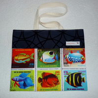 Fish Stamps Print Shoulder Bag with Cream Lining and Shoulder Straps. Large.