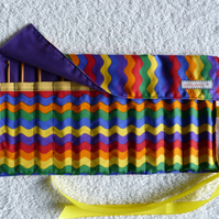 Rainbow  Print Roll Up Crochet Hook Holder with 12 Bamboo Crochet Hooks.