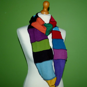 Upcycled  Infinity Cowl in Bright Rainbow Colours. 1.