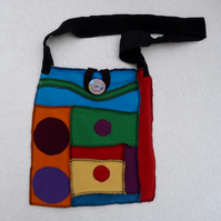 Upcycled Sweater Shoulder Bag .Rainbow Colours. Black Strap. Cotton Lining
