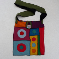 Upcycled Sweater Shoulder Bag .Rainbow Colours. Green Strap. Cotton Lining