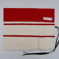 Knitting Needle Roll In Red and Black Polka Dot with 3 Pairs Bamboo Needles.