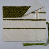 Knitting Needle Roll In Green Leaf Print Cotton  with 3 Pairs Bamboo Needles.
