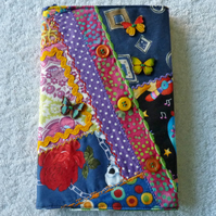 Embellished  Patchwork A5 Notebook with Lined Notepad.