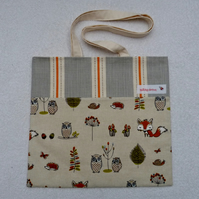 Woodland Animals Print Tote Bag Suitable for Knitting Projects or Shopping