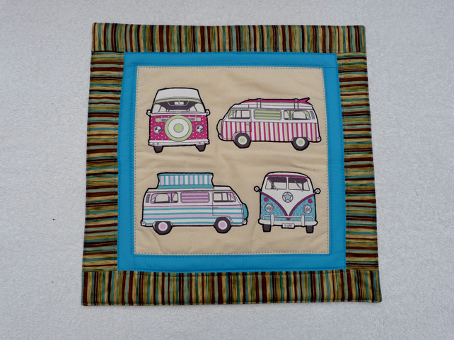 VW Camper Cushion with Four Vans. Applique and Quilted. Button Back.