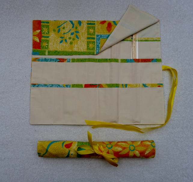 Knitting Needle Roll in Yellow Print Fabric with 3 Pairs Bamboo Needles