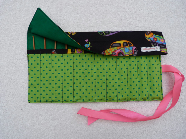 VW Beetle  Print Roll Up Crochet Hook Holder with 12 Bamboo Crochet Hooks