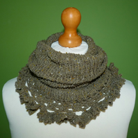 Cowl with Ruffle Crochet Trim in Rowan Double Knit Weight Yarn.