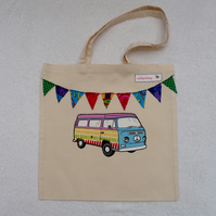 Blue and Purple  Applique VW Camper Van and Bunting Cotton Canvas Bag