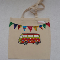 Spot Applique VW Camper Van and Bunting Cotton Canvas Bag with Handles